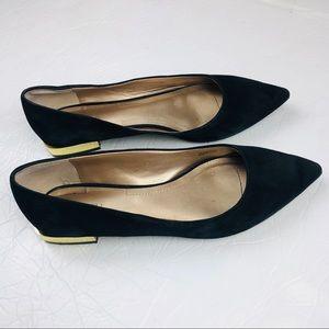 3c92c75d0d2 Tahari Eda Black Suede flats gold metallic heel